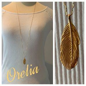 ORELIA Gold Feather Necklace